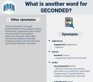 Seconded, synonym Seconded, another word for Seconded, words like Seconded, thesaurus Seconded