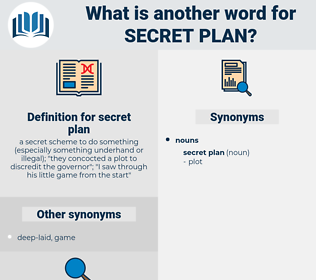 secret plan, synonym secret plan, another word for secret plan, words like secret plan, thesaurus secret plan