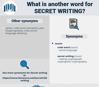 secret writing, synonym secret writing, another word for secret writing, words like secret writing, thesaurus secret writing