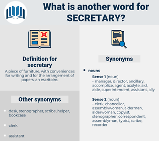 secretary, synonym secretary, another word for secretary, words like secretary, thesaurus secretary