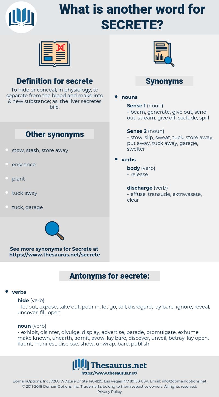 secrete, synonym secrete, another word for secrete, words like secrete, thesaurus secrete