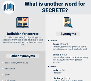 secrete, synonym secrete, another word for secrete, words like secrete, thesaurus secrete
