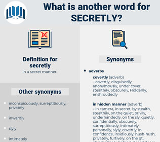 secretly, synonym secretly, another word for secretly, words like secretly, thesaurus secretly