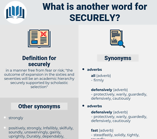 securely, synonym securely, another word for securely, words like securely, thesaurus securely