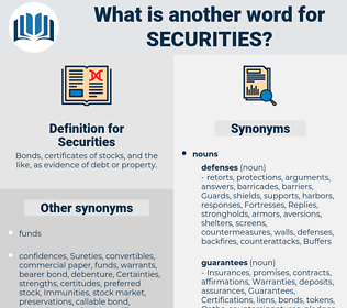 Securities, synonym Securities, another word for Securities, words like Securities, thesaurus Securities