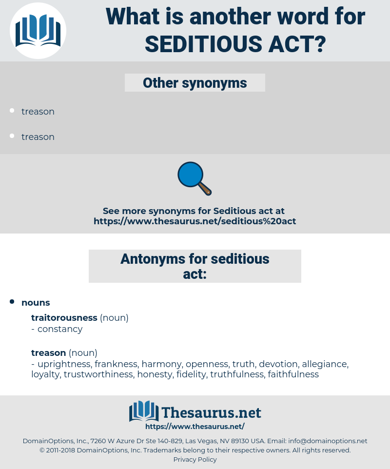 seditious act, synonym seditious act, another word for seditious act, words like seditious act, thesaurus seditious act