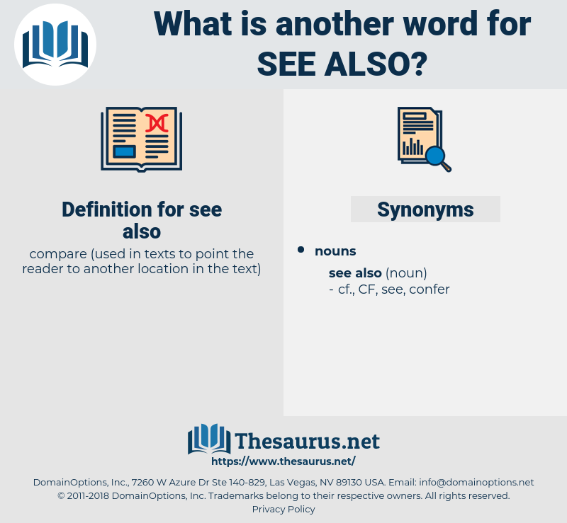 see also, synonym see also, another word for see also, words like see also, thesaurus see also
