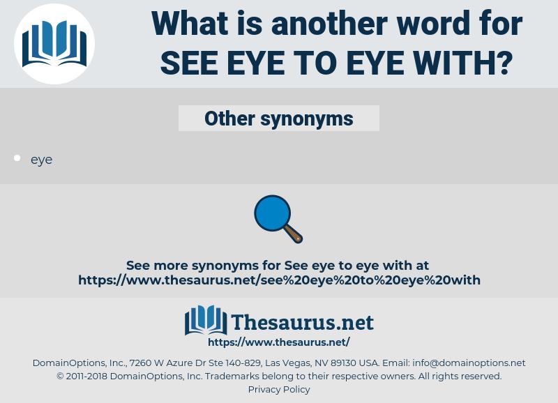 see eye to eye with, synonym see eye to eye with, another word for see eye to eye with, words like see eye to eye with, thesaurus see eye to eye with