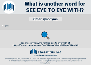 see eye to eye with, synonym see eye to eye with, another word for see eye to eye with, words like see eye to eye with, thesaurus see eye to eye with