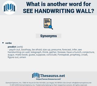 see handwriting wall, synonym see handwriting wall, another word for see handwriting wall, words like see handwriting wall, thesaurus see handwriting wall