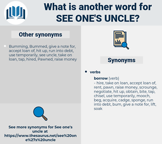 see one's uncle, synonym see one's uncle, another word for see one's uncle, words like see one's uncle, thesaurus see one's uncle