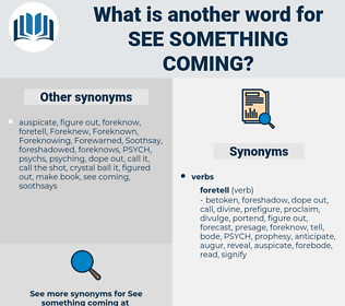 see something coming, synonym see something coming, another word for see something coming, words like see something coming, thesaurus see something coming