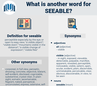 seeable, synonym seeable, another word for seeable, words like seeable, thesaurus seeable