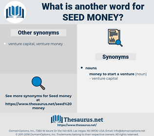 seed money, synonym seed money, another word for seed money, words like seed money, thesaurus seed money