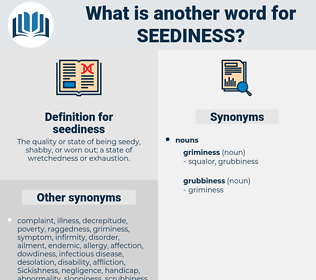 seediness, synonym seediness, another word for seediness, words like seediness, thesaurus seediness