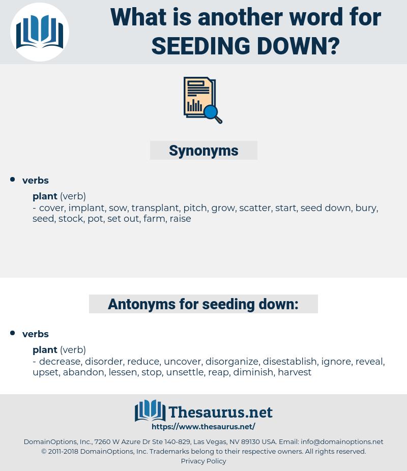 seeding down, synonym seeding down, another word for seeding down, words like seeding down, thesaurus seeding down