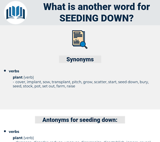 seeding down, synonym seeding down, another word for seeding down, words like seeding down, thesaurus seeding down