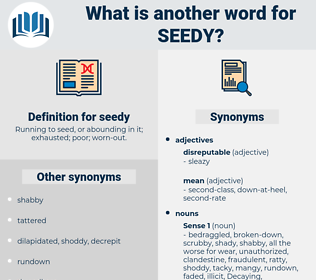seedy, synonym seedy, another word for seedy, words like seedy, thesaurus seedy