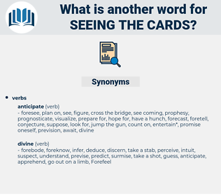 seeing the cards, synonym seeing the cards, another word for seeing the cards, words like seeing the cards, thesaurus seeing the cards