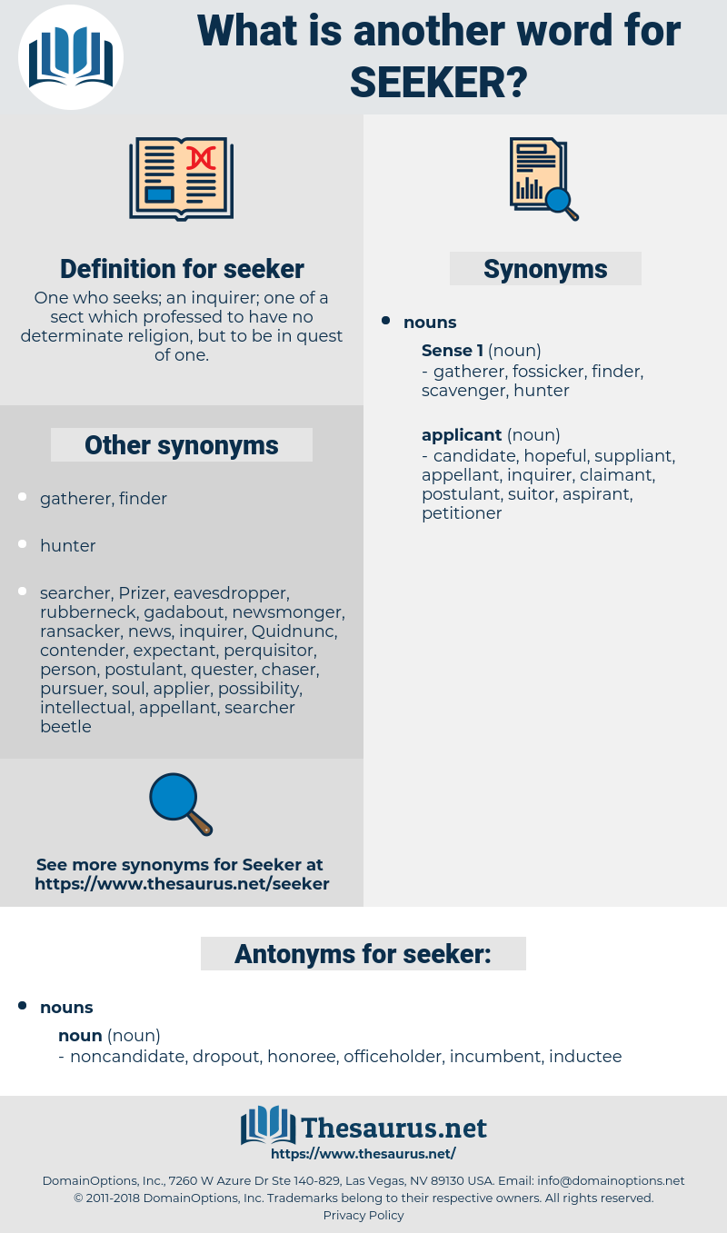 seeker, synonym seeker, another word for seeker, words like seeker, thesaurus seeker