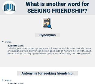 seeking friendship, synonym seeking friendship, another word for seeking friendship, words like seeking friendship, thesaurus seeking friendship