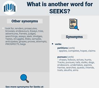 seeks, synonym seeks, another word for seeks, words like seeks, thesaurus seeks