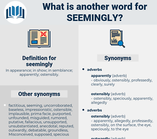 seemingly, synonym seemingly, another word for seemingly, words like seemingly, thesaurus seemingly