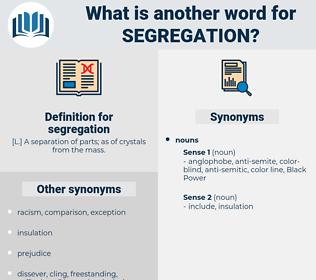 segregation, synonym segregation, another word for segregation, words like segregation, thesaurus segregation