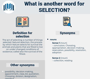 selection, synonym selection, another word for selection, words like selection, thesaurus selection