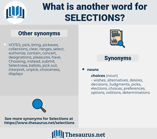 Selections, synonym Selections, another word for Selections, words like Selections, thesaurus Selections