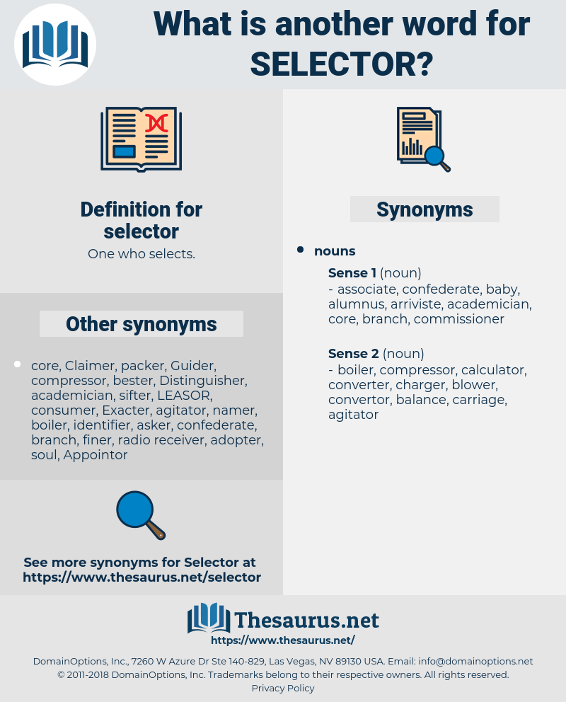 selector, synonym selector, another word for selector, words like selector, thesaurus selector