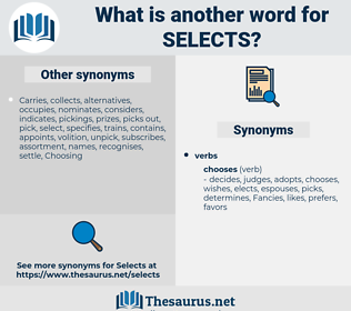 selects, synonym selects, another word for selects, words like selects, thesaurus selects