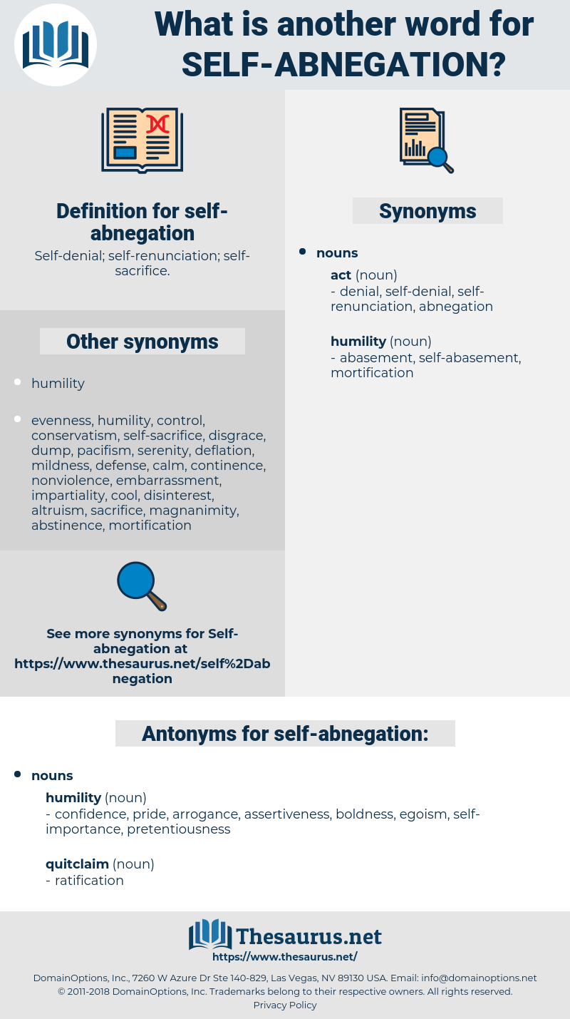 self-abnegation, synonym self-abnegation, another word for self-abnegation, words like self-abnegation, thesaurus self-abnegation