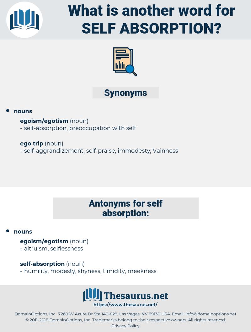self-absorption, synonym self-absorption, another word for self-absorption, words like self-absorption, thesaurus self-absorption