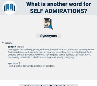 self-admirations, synonym self-admirations, another word for self-admirations, words like self-admirations, thesaurus self-admirations