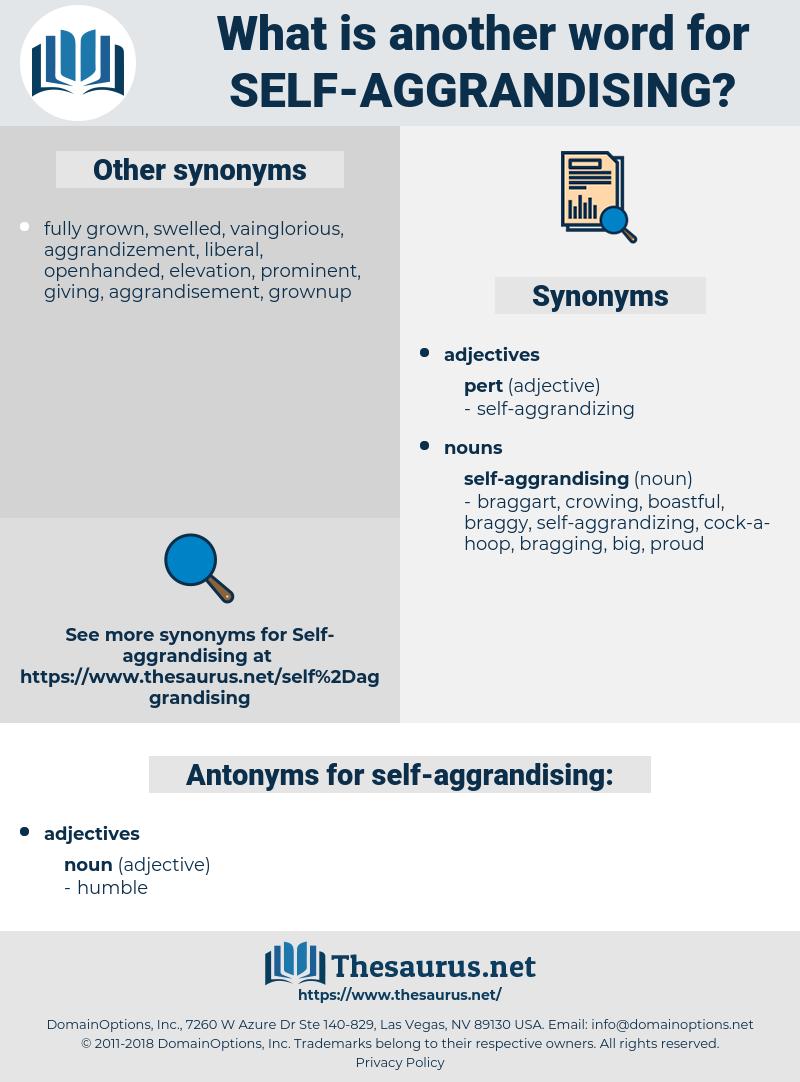 self-aggrandising, synonym self-aggrandising, another word for self-aggrandising, words like self-aggrandising, thesaurus self-aggrandising