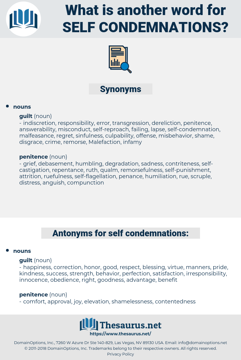 self condemnations, synonym self condemnations, another word for self condemnations, words like self condemnations, thesaurus self condemnations