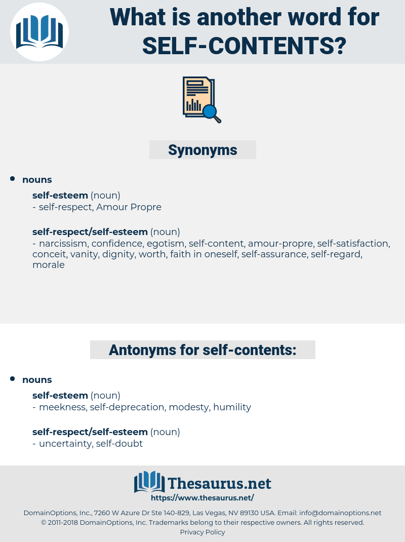 self-contents, synonym self-contents, another word for self-contents, words like self-contents, thesaurus self-contents