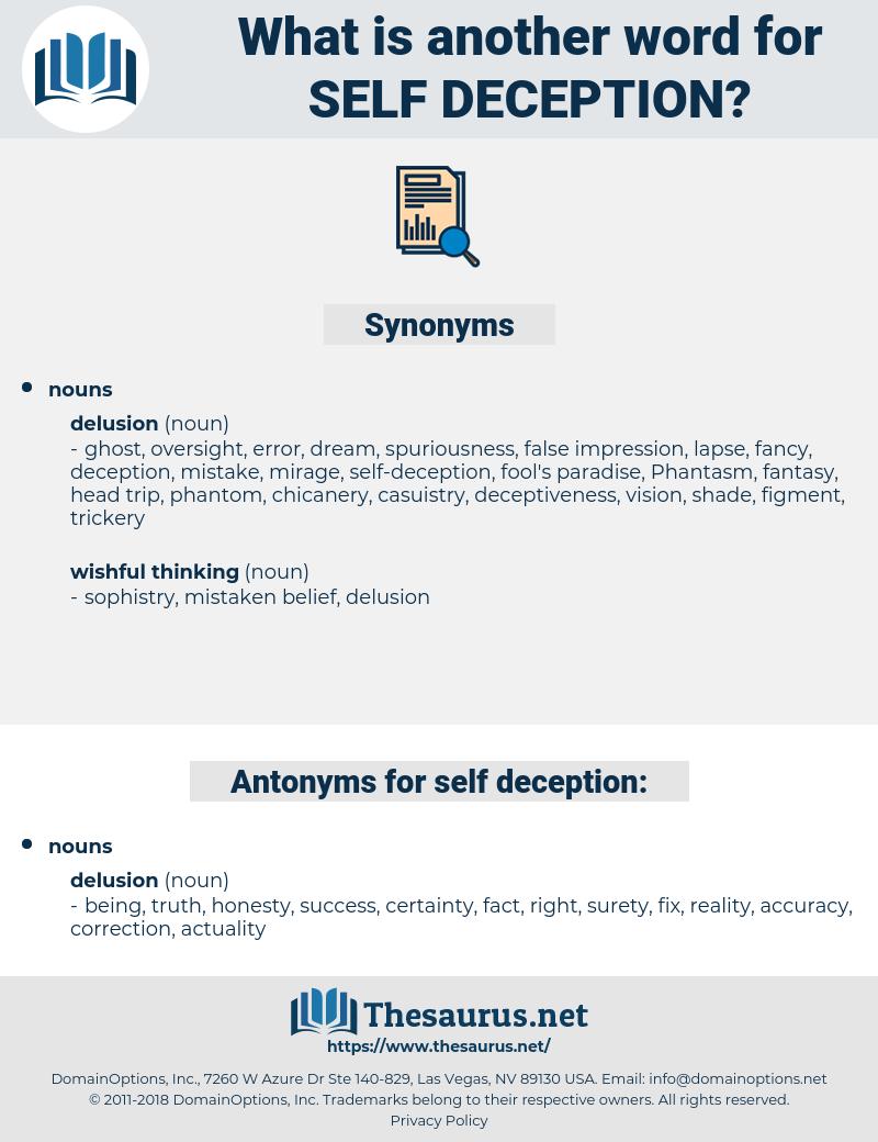 self-deception, synonym self-deception, another word for self-deception, words like self-deception, thesaurus self-deception