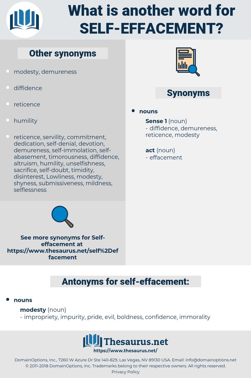 self-effacement, synonym self-effacement, another word for self-effacement, words like self-effacement, thesaurus self-effacement