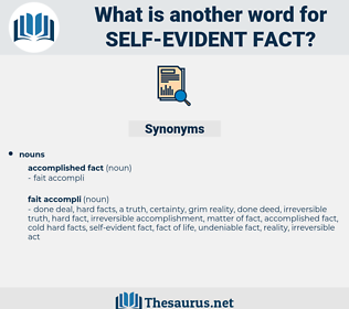 self-evident fact, synonym self-evident fact, another word for self-evident fact, words like self-evident fact, thesaurus self-evident fact