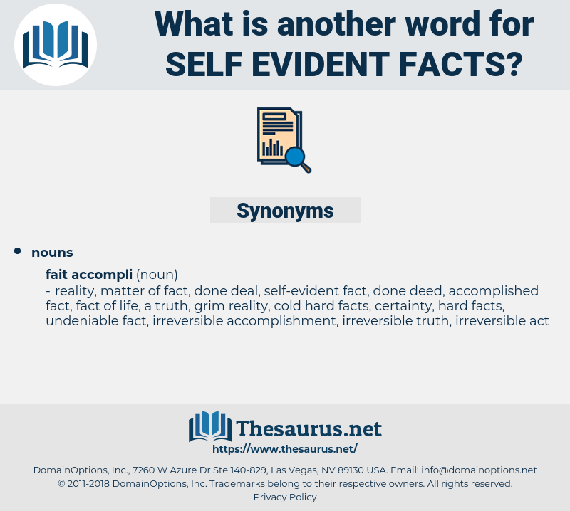 self-evident facts, synonym self-evident facts, another word for self-evident facts, words like self-evident facts, thesaurus self-evident facts