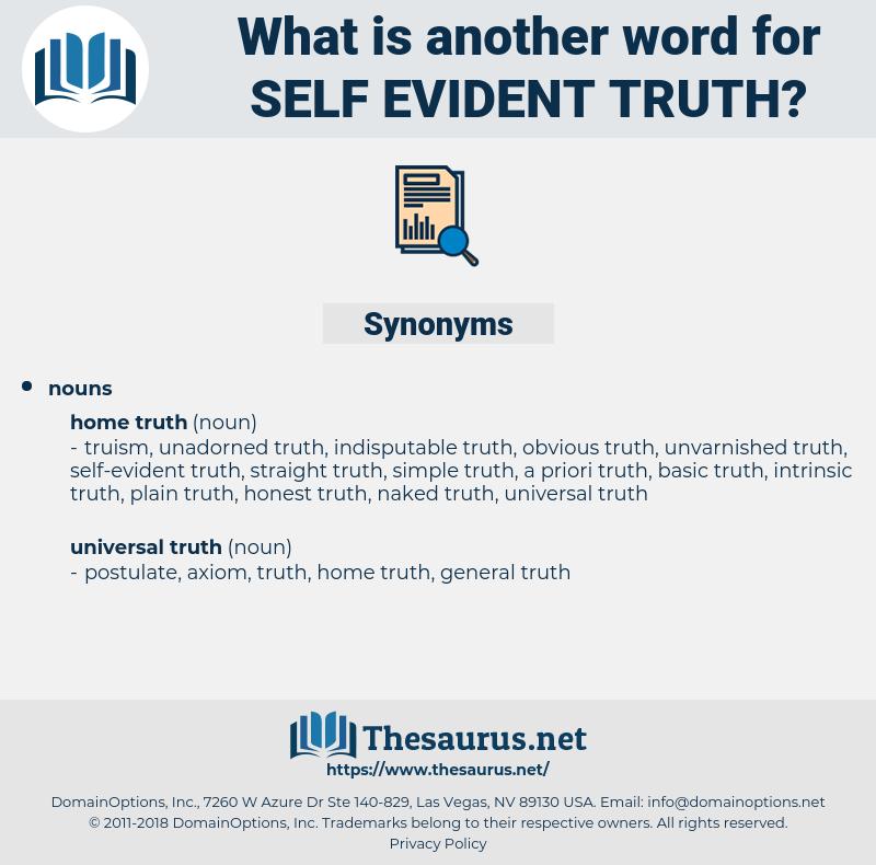self-evident truth, synonym self-evident truth, another word for self-evident truth, words like self-evident truth, thesaurus self-evident truth