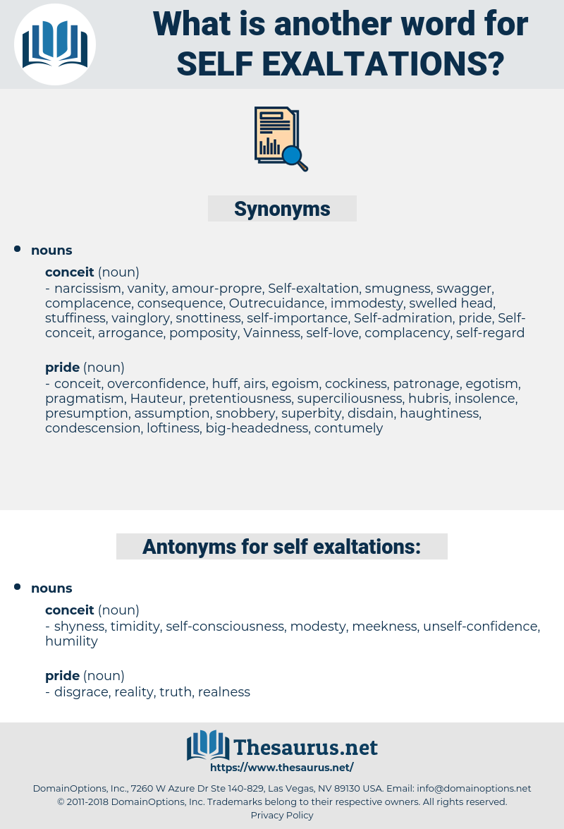 self-exaltations, synonym self-exaltations, another word for self-exaltations, words like self-exaltations, thesaurus self-exaltations