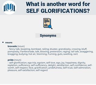 self-glorifications, synonym self-glorifications, another word for self-glorifications, words like self-glorifications, thesaurus self-glorifications
