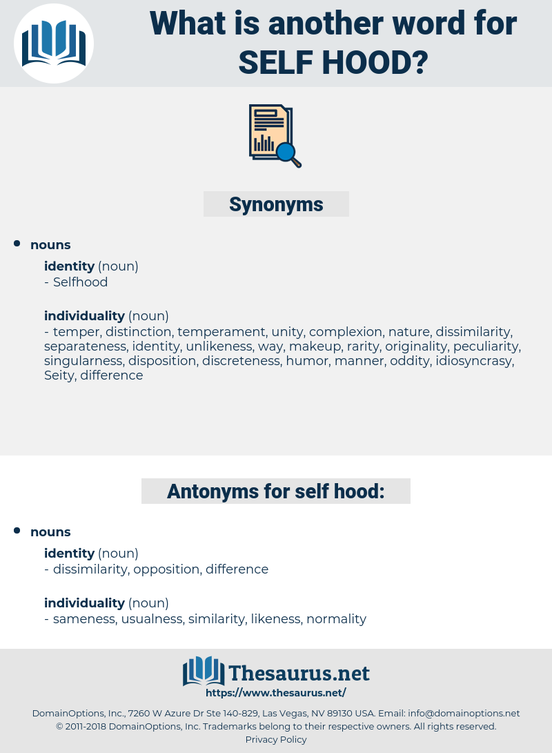 self hood, synonym self hood, another word for self hood, words like self hood, thesaurus self hood