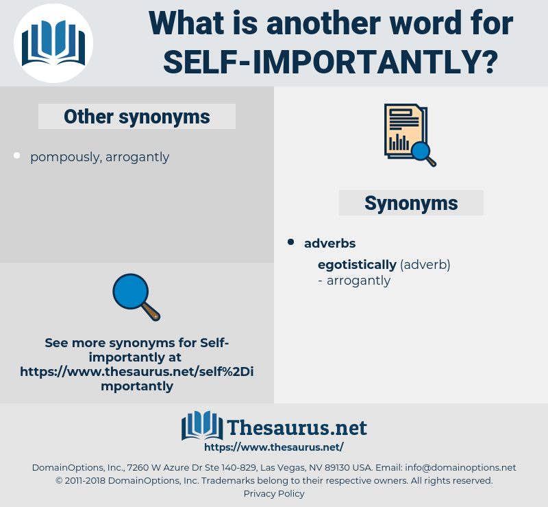 self importantly, synonym self importantly, another word for self importantly, words like self importantly, thesaurus self importantly