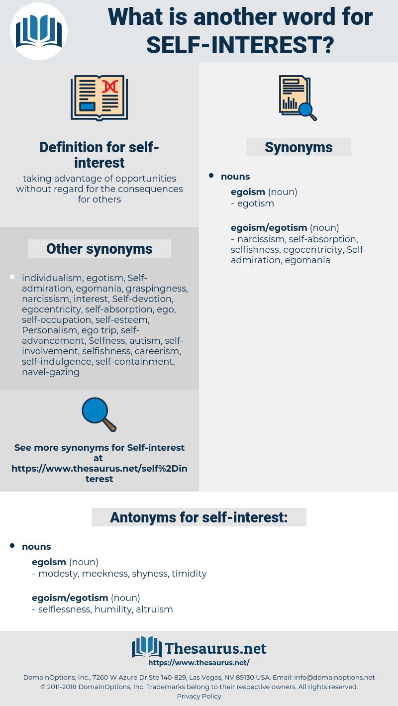 self-interest, synonym self-interest, another word for self-interest, words like self-interest, thesaurus self-interest