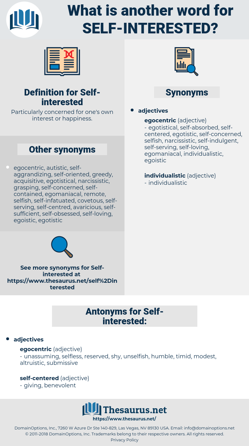 self interested, synonym self interested, another word for self interested, words like self interested, thesaurus self interested