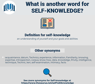 self-knowledge, synonym self-knowledge, another word for self-knowledge, words like self-knowledge, thesaurus self-knowledge